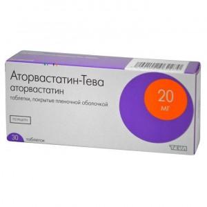 Аторвастатин-Тева, тбл п п о 20мг 30